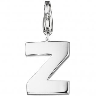 Einhänger Charm Buchstabe Z 925 Sterling Silber Anhänger für Bettelarmband