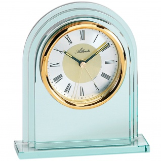 Atlanta 3034/9 Stiluhr Tischuhr Quarz analog golden mit Glas
