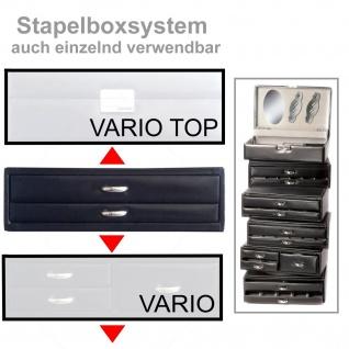 Sacher Schmuckkoffer Schmuckkasten schwarz Holz mit Leder abschließbar Reisetui - Vorschau 5