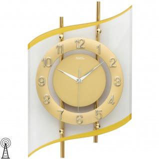 AMS 5505 Wanduhr Funk Funkwanduhr analog golden modern geschwungen mit Glas