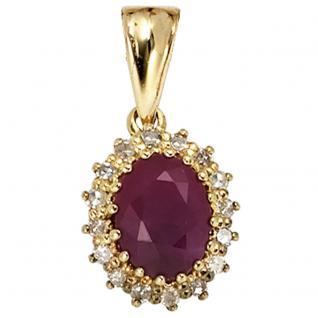 Anhänger 585 Gold Gelbgold 16 Diamanten 0, 16ct. 1 Rubin rot Goldanhänger