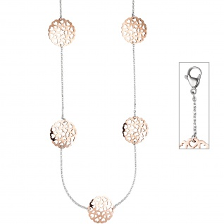Collier / Halskette Herzen aus Edelstahl rotgold farben bicolor 90 cm Kette