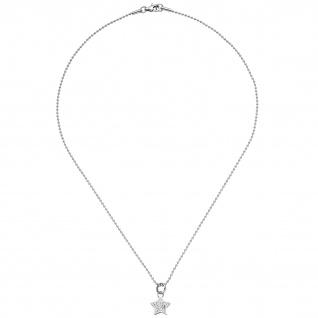 Collier Kette mit Anhänger Stern Edelstahl mit Kristallen 45 cm Halskette