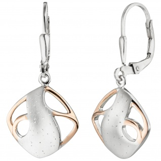Ohrhänger 925 Sterling Silber bicolor vergoldet teil matt Ohrringe Boutons