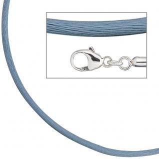Collier Halskette Seide hellblau 2, 8 mm 42 cm, Verschluss 925 Silber Kette
