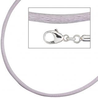 Collier Halskette Seide flieder 2, 8 mm 42 cm, Verschluss 925 Silber Kette