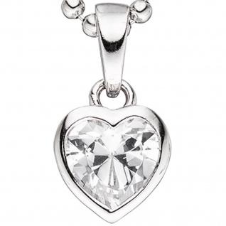Kinder Anhänger Herz 925 Sterling Silber 1 Zirkonia Herzanhänger Kinderanhänger - Vorschau 2