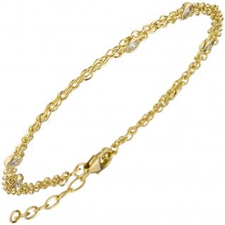 Armband 2-reihig 925 Sterling Silber gold vergoldet 5 Zirkonia 21 cm verkürzbar