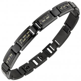 Armband Edelstahl schwarz beschichtet mit goldfarbenen Effekten 22 cm