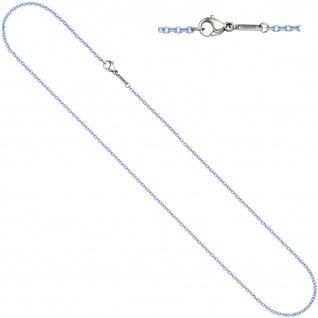 Rundankerkette Edelstahl blau lackiert 50 cm Kette Halskette Karabiner