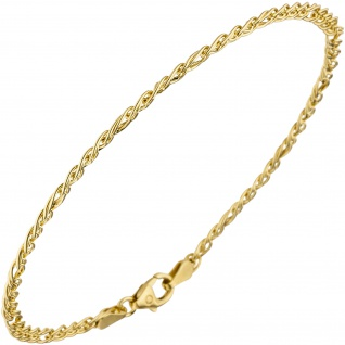 Zwillings-Panzerarmband 585 Gelbgold 19 cm Gold Armband Goldarmband