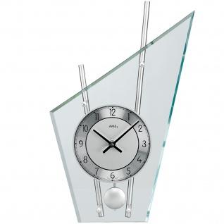 AMS 153 Tischuhr Quarz mit Pendel silbern modern Metall mit Glas
