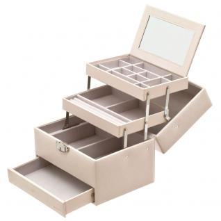 Davidt's Schmuckkoffer Schmuckkasten beige weiß Schloss Spiegel Schublade