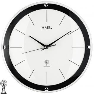 AMS 5902 Wanduhr Funk Funkwanduhr analog schwarz weiß rund mit Glas