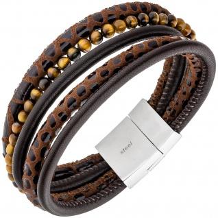 Armband 5-reihig Leder braun mit Tigeraugen-Kugeln und Edelstahl 18, 5 cm