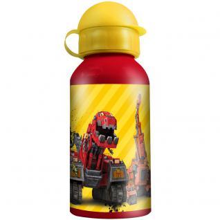 DINOTRUX Kinder Trinkflasche aus Aluminium rot gelb 400 ml