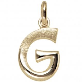 Anhänger Buchstabe G 375 Gold Gelbgold Buchstabenanhänger