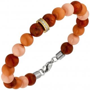 Armband mit Kristallsteinen und dunkelroten Kugeln 19 cm