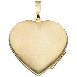 Medaillon Herz für 2 Fotos 333 Gold Gelbgold matt Anhänger zum Öffnen - Vorschau 2