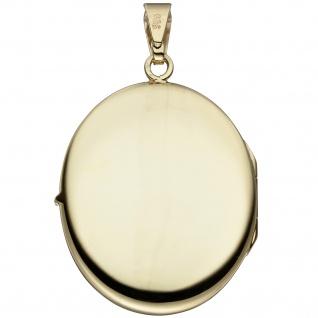 Medaillon oval 585 Gold Gelbgold Anhänger zum Öffnen - Vorschau 2