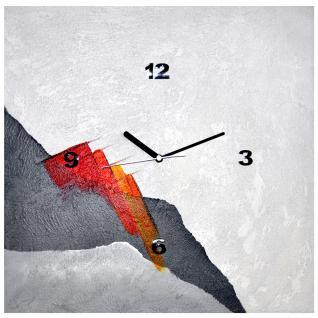 K Edition K1212 Limitierte Designer Wanduhr Quarz Handarbeit Unikat grau rot