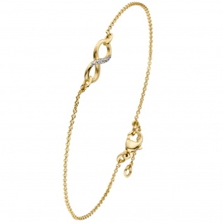 Armband Unendlichkeit 375 Gold Gelbgold bicolor 7 Zirkonia 19, 5 cm Goldarmband