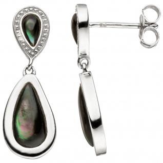 Ohrhänger Tropfen 925 Sterling Silber Perlmutt Einlagen grau Ohrringe Ohrstecker