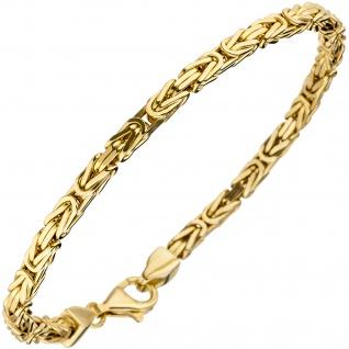 Königsarmband 925 Sterling Silber gold vergoldet diamantiert 19 cm Armband