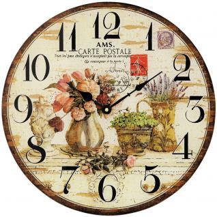 AMS 9466 Wanduhr Quarz analog rund vintage antik retro mit Blumen Motiv