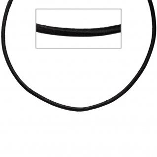 Leder Halskette Kette Schnur schwarz 45 cm, Karabiner 925 Sterling Silber - Vorschau 2