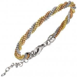 Armband 925 Sterling Silber tricolor dreifarbig vergoldet 22 cm