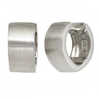 Creolen breit spitz 925 Sterling Silber mattiert Ohrringe Silbercreolen