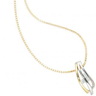 Anhänger 925 Sterling Silber rhodiniert bicolor vergoldet 4 Zirkonia - Vorschau 4