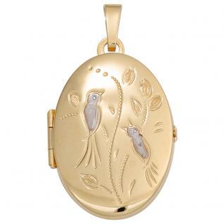 Medaillon Vögel oval für 2 Fotos 333 Gold Gelbgold matt Anhänger zum Öffnen - Vorschau 4