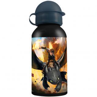 DRAGONS Kinder Trinkflasche aus Aluminium schwarz grau 400 ml