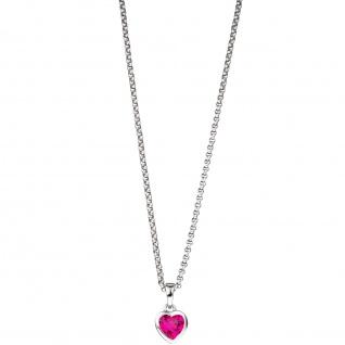 Kinder Anhänger Herz 925 Silber 1 Zirkonia pink Herzanhänger Kinderanhänger - Vorschau 3