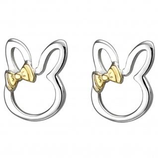 Kinder Ohrstecker Hase 925 Sterling Silber bicolor vergoldet Ohrringe
