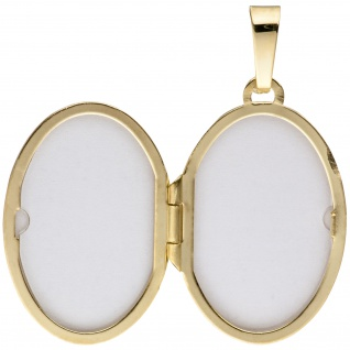 Medaillon oval für 2 Fotos 585 Gold Gelbgold matt Anhänger zum Öffnen - Vorschau 3