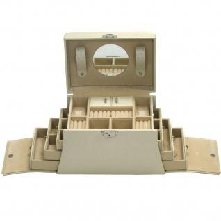 Davidt's Schmuckkoffer Schmuckkasten beige weiß Schloss Spiegel Schubladen
