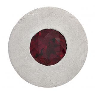 Anhänger rund 925 Sterling Silber rhodiniert eismatt 1 Granat rot
