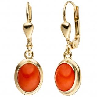Ohrhänger oval 333 Gold Gelbgold 2 Korallen orange Ohrringe Goldohrringe