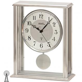AMS 5190 Tischuhr Funk Funktischuhr mit Pendel silbern modern mit Glas Pendeluhr