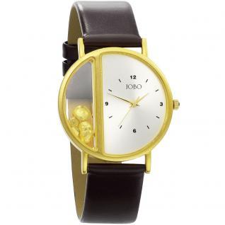 JOBO Unisex Armbanduhr Quarz Analog vergoldet Leder