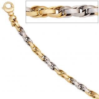 Armband 585 Gold Gelbgold Weißgold bicolor mattiert 19 cm Goldarmband Karabiner