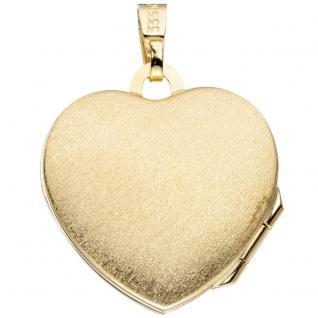 Medaillon Herz 333 Gold Gelbgold eismatt Anhänger zum Öffnen für 2 Fotos - Vorschau 2