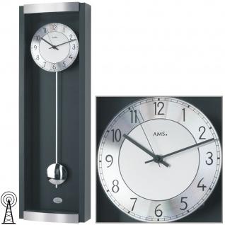 AMS 5285/11 Wanduhr Funk Funkwanduhr mit Pendel schwarz Pendeluhr mit Glas