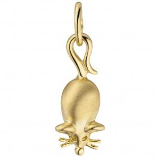 Anhänger Maus 333 Gold Gelbgold teil matt Goldanhänger