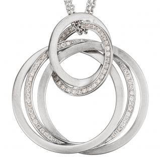 Collier Kette mit Anhänger 585 Gold Weißgold matt 69 Diamanten Brillanten 42 cm