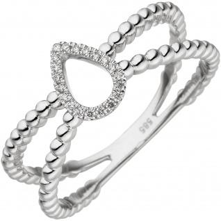 Damen Ring 585 Gold Weißgold 20 Diamanten Brillanten Weißgoldring