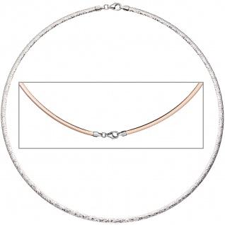 Halsreif Halskette Collier 925 Silber rotgold vergoldet beidseitig tragbar 45 cm
